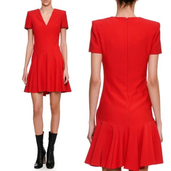 NEW Alexander McQueen Wool Silk Fit Flare Dress 40